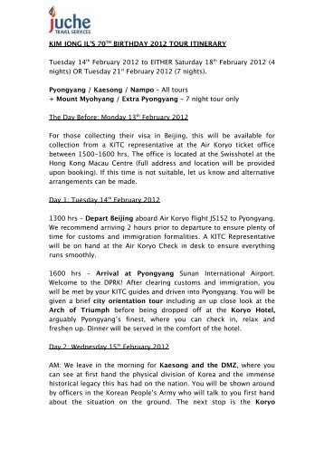 kim jong il's birthday 2012 tour itinerary - Juche Travel Services