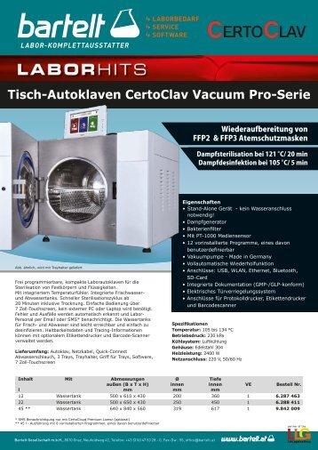 Laborhit: CertoClav Tisch-Autoklaven der Vacuum Pro-Serie