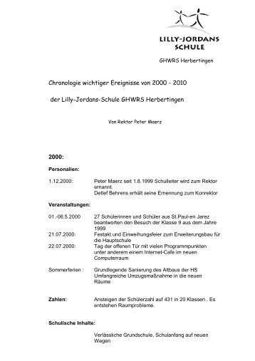 Chronologie wichtiger Ereignisse von 2000 - 2010 der Lilly-Jordans ...
