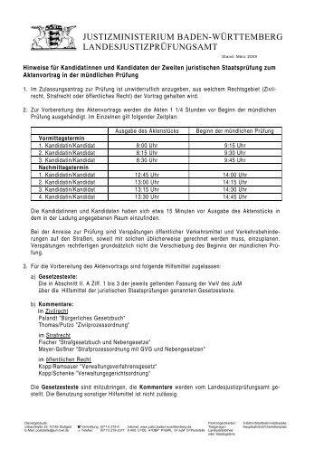 Hinweise zum Aktenvortrag in der mündlichen Prüfung