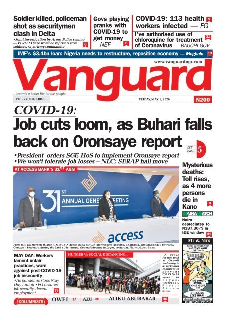 01052020 - COVID-19 Job cuts loom, as Buhari falls back on Oronsaye report