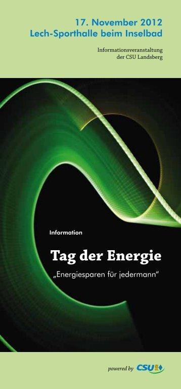 Broschüre Tag der Energie - CSU