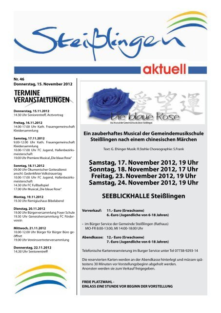 Samstag, 17. November 2012, 19 Uhr Sonntag, 18 ... - Steißlingen
