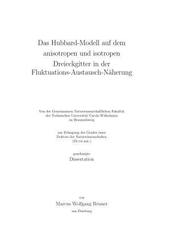 Das Hubbard-Modell auf dem anisotropen und isotropen ...