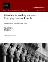 Education in Washington State - Emerging Issues and Needs