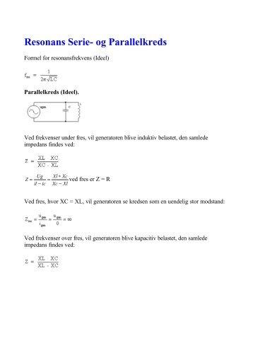 Resonans Serie- og Parallelkreds - oz1lcg
