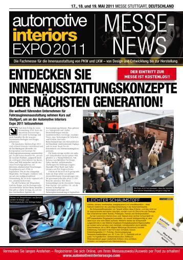 17., 18. und 19. MAI 2011 - Automotive Interiors Expo