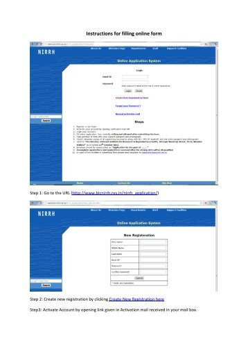Instructions for filling online form - nirrh