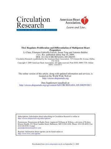 DOI: 10.1161/CIRCRESAHA.109.200295 published online Sep 10 ...