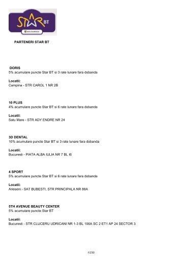 PARTENERI STAR BT DORIS 5% acumulare puncte Star BT si 3 ...