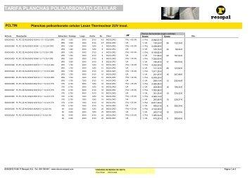 tarifa planchas policarbonato celular - Resopal