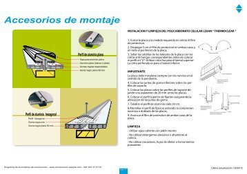 tarifa accesorios de montaje sistemas policarbonato - Resopal
