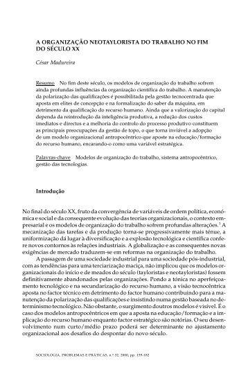 A ORGANIZAÇÃO NEOTAYLORISTA DO TRABALHO NO ... - SciELO