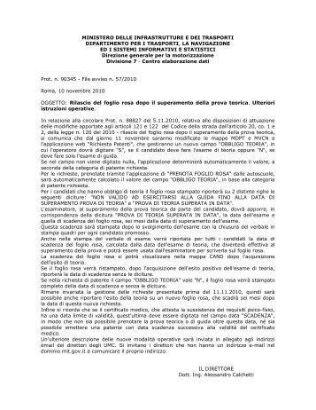 Circolare Ministero dei Trasporti rilascio foglio rosa ott - SicurAUTO.it