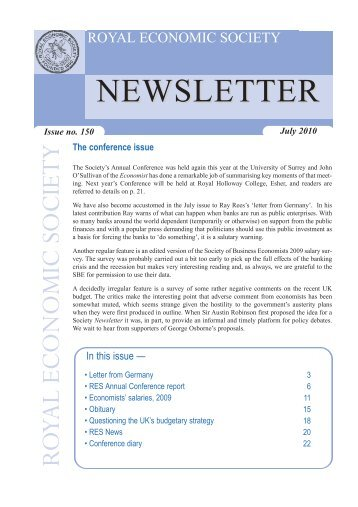 NEWSLETTER - Royal Economic Society