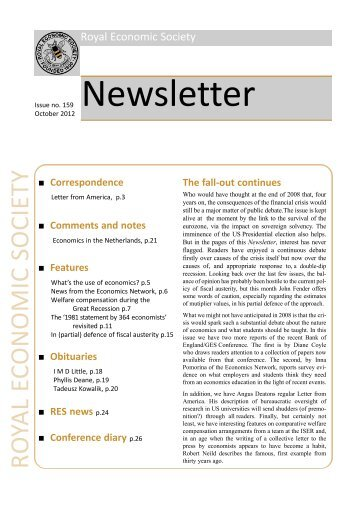 Newsletter No. 160 - January 2013 - Royal Economic Society
