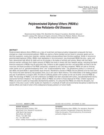 Polybrominated Diphenyl Ethers (PBDEs) - Clinical Medicine ...