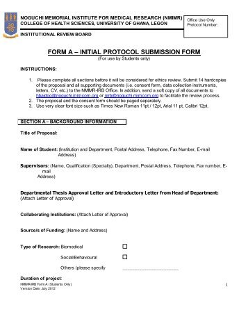 FORM A – INITIAL PROTOCOL SUBMISSION FORM - Noguchi