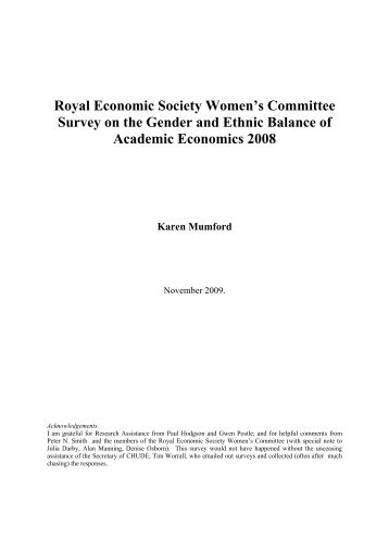 Royal Economic Society Women's Committee Survey on the Gender ...