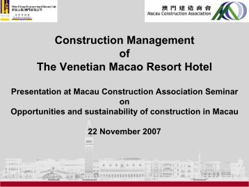 Construction Management of The Venetian Macao Resort Hotel