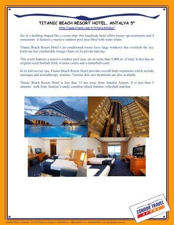 TITANIC BEACH RESORT HOTEL, ANTALYA 5* - Condor Travel