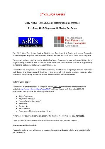 2nd CALL FOR PAPERS - AsRES