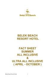 belek beach resort hotel fact sheet summer all inclusive & ultra all ...