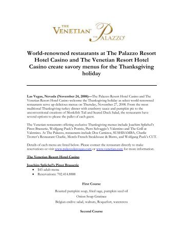 World-renowned restaurants at The Palazzo Resort Hotel ... - Venetian