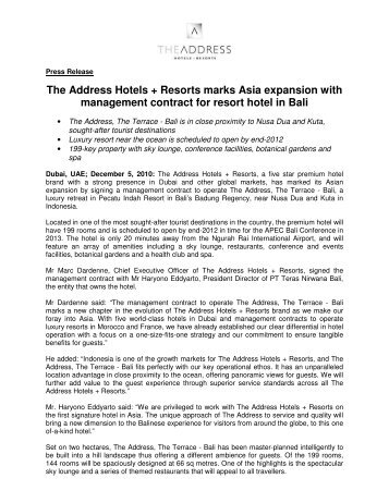 The Address Hotels + Resorts marks Asia expansion with ...