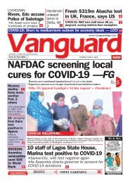 08052020 - NAFDAC screening local cures for COVID-19 —FG