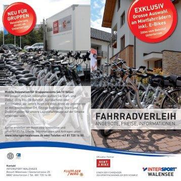 FAHRRADVERLEIH - Intersport Walensee