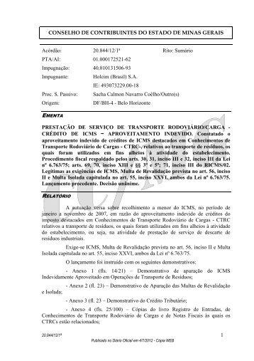 conselho de contribuintes do estado de minas gerais - Secretaria de ...