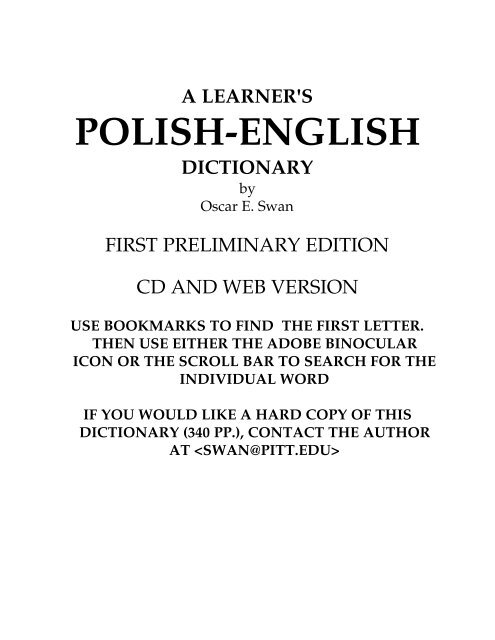 A Learners Polish English Dictionary Endlezzcom