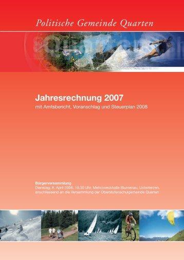 Jahresrechnung - Gemeinde Quarten