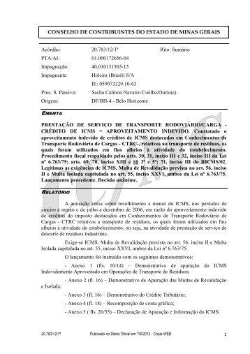 20783 - Secretaria de Estado de Fazenda de Minas Gerais