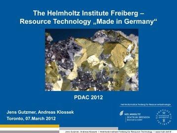 The Helmholtz-Institute Freiberg - resource technology - Deutsche ...