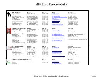 MBA Local Resource Guide - MBA Student Exchange