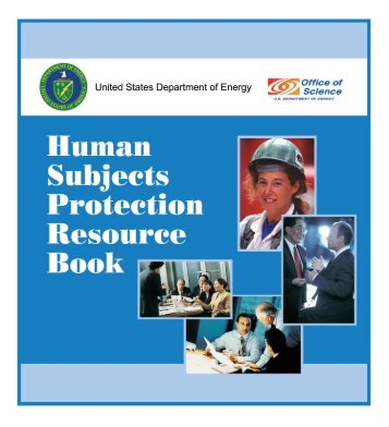 DOE Human Subjects Protection Resource Book - Department of ...