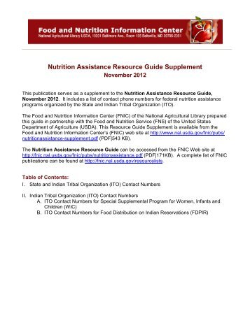 Nutrition Assistance Resource Guide Supplement - National ...
