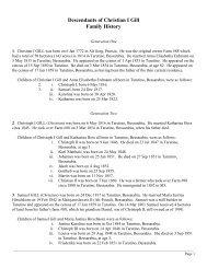 Descendants of Christian I Gill Family History - of Ohlhausen.ca