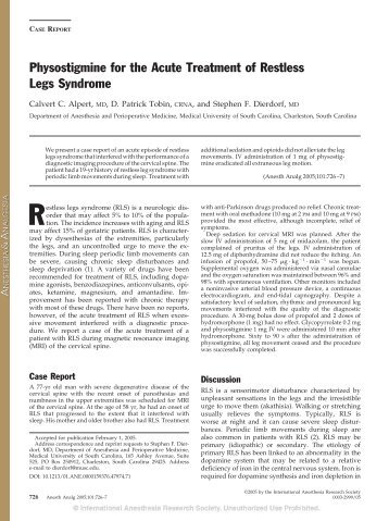 Physostigmine for the Acute Treatment of Restless Legs Syndrome