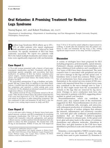 Oral Ketamine: A Promising Treatment for Restless Legs Syndrome