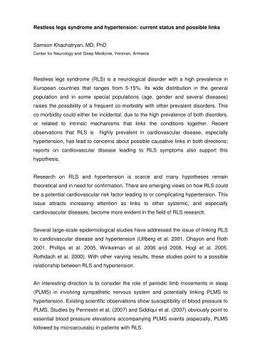 Restless legs syndrome and hypertension: current status - Eurlssg.org