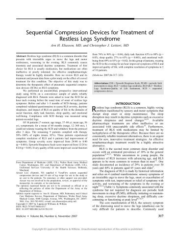Sequential Compression Devices for Treatment of Restless Legs ...