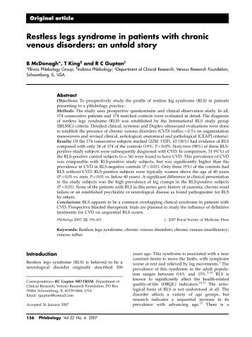 Restless legs syndrome in patients with chronic venous disorders ...