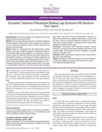 Successful Treatment of Recalcitrant Restless Legs Syndrome With ...