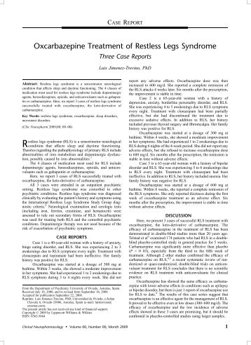 Oxcarbazepine Treatment of Restless Legs Syndrome