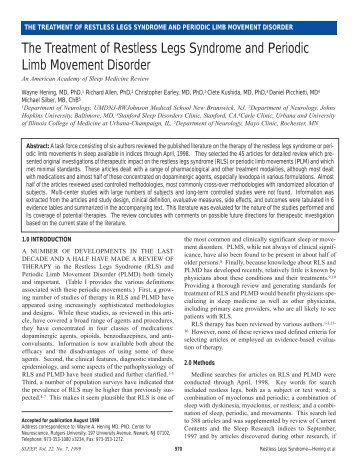 The Treatment of Restless Legs Syndrome and Periodic ... - Sleep