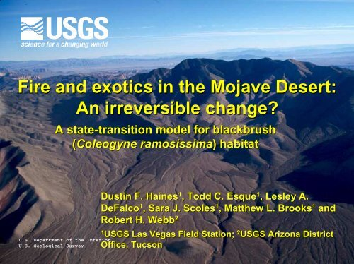 Fire and exotics in the Mojave Desert - Desert Managers