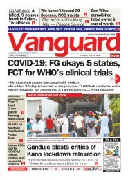 12052020 - COVID-19: FG okays 5 states, FCT for WHO's clinical trials
